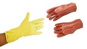 防护化学制品的手套 库存照片