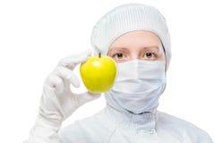 防护套服和一个好健康苹果的生物学家 库存图片