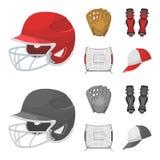 防护的盔甲,护膝和其他辅助部件 在动画片,单色样式传染媒介的棒球集合汇集象 免版税库存照片