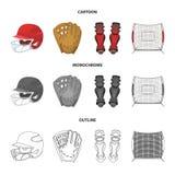 防护的盔甲,护膝和其他辅助部件 在动画片,概述,单色样式的棒球集合汇集象 库存照片