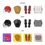 防护的盔甲,护膝和其他辅助部件 在动画片,黑色,平的样式传染媒介的棒球集合汇集象 库存照片