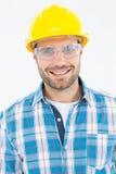戴防护眼镜的确信的安装工 免版税库存图片