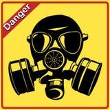防毒面具。 危险符号 图库摄影