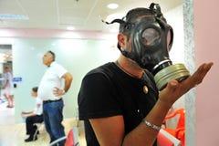 防毒面具发行在以色列 库存照片