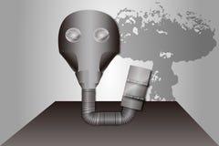 防毒面具和蘑菇云 免版税库存照片