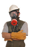 防毒面具工作者 免版税图库摄影