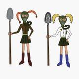 防毒面具的女孩 免版税图库摄影