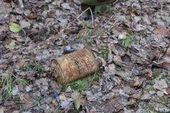 防毒面具RKKA老生锈的煤炭过滤器在下落的叶子中的森林里被投掷 免版税库存图片