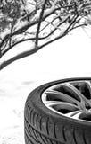 防滑轮胎冬天 免版税库存图片