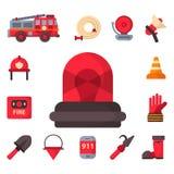 防火安全设备紧急状态用工具加工消防队员安全危险事故保护传染媒介例证 库存例证