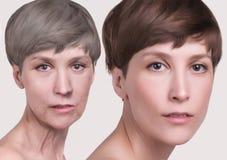 防皱,秀丽治疗、老化和青年时期,举,skincare,整容概念 免版税库存照片