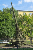 防空力量博物馆  苏维埃130mm高射炮KS-30 免版税库存照片