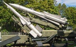 防空力量博物馆  防空导弹系统s-125和s-200发射器  免版税图库摄影