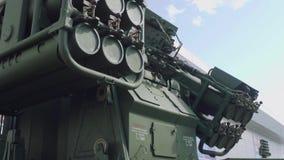 防空在绿色伪装的导弹系统 强制 股票录像