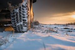 防滑轮胎冬天 库存照片