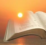 阳光亮光通过圣经页 免版税库存图片