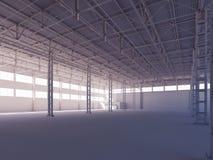 阳光内部3d例证照亮的当代空的白色仓库 库存例证