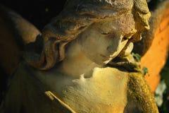 阳光照亮的金黄天使雕象庄严看法  库存图片