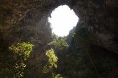 阳光通过一个洞孔在泰国 免版税图库摄影