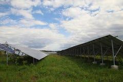 阳光闪烁在领域的太阳电池板 库存图片
