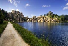 阳光, Sylvan湖,黑山国家森林爆炸  图库摄影