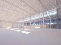 阳光3d例证照亮的当代空的白色仓库 向量例证