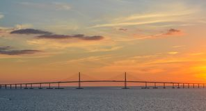 阳光Skyway在坦帕湾,佛罗里达的桥梁剪影 免版税库存图片