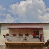 阳台在Krk镇在Krk海岛上的  免版税图库摄影