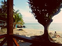 阳台海滩视图 库存图片