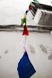 从阳台的旗子 免版税库存图片