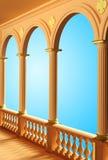 阳台的看法有专栏和曲拱3D翻译孤立的 皇族释放例证