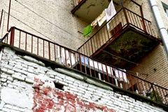 阳台的看法有亚麻布的 库存图片