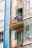 阳台的看法有旗子的 在独立的公民投票,巴塞罗那,卡塔龙尼亚,西班牙 特写镜头 免版税库存照片