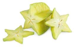 阳桃或starfruit与切片 免版税库存图片