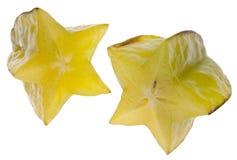 阳桃查出的starfruit白色 库存图片
