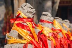 洛阳,中国- 2014年11月14日:在Guanlin寺庙的雕象 一famou 库存照片