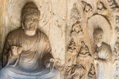 洛阳,中国- 2014年11月13日:龙门石窟 联合国科教文组织世界她 图库摄影