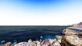 阴沉的蓝色海和天空 免版税图库摄影