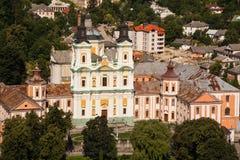 阴险的人修道院和温床的,克列梅涅茨,乌克兰埃拉尔铝合金顶视图 图库摄影