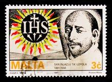 阴险的人800th诞生anniv的圣伊格纳罗罗耀拉创建者画象  宗教记念serie,大约1991年 免版税库存图片