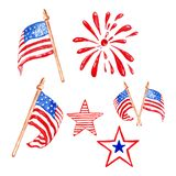 阵亡将士纪念日水彩设置与美国旗子,星和向致敬的烟花,隔绝在白色背景 皇族释放例证
