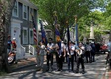 阵亡将士纪念日游行在南塔克特,马萨诸塞 免版税库存图片