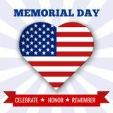 阵亡将士纪念日背景 导航与心脏、文本和丝带的例证在美国旗子的颜色 库存照片