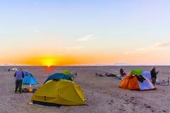 阵营在沙漠在埃及 免版税图库摄影