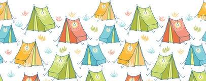 阵营帐篷水平的无缝的样式背景 皇族释放例证