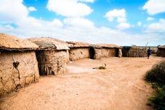 阵营村庄肯尼亚马塞语 免版税库存照片