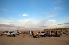 阵营沙漠西部的撒哈拉大沙漠 库存图片