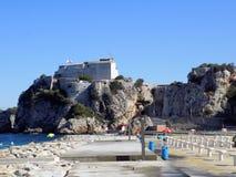 阵营海湾海滩直布罗陀 库存图片