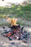 阵营火为在草土地的烤肉做准备 库存图片