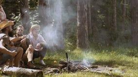 阵营火在夏天 朋友在坐在营火附近的森林里 影视素材